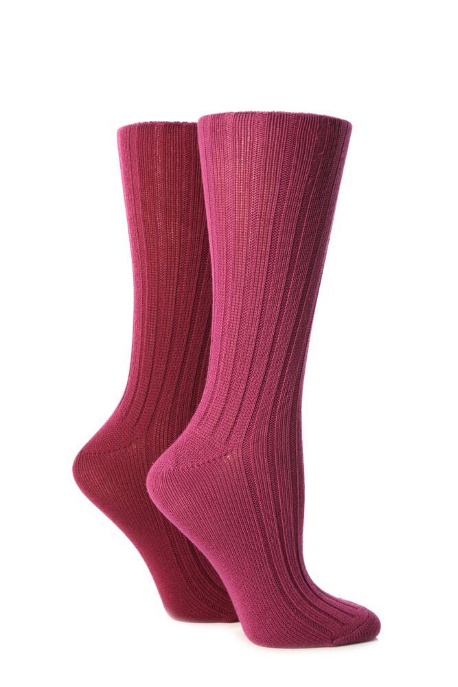 Ladies 2 Pair Jennifer Anderton Plain Ribbed Boot Socks 25% OFF This Style