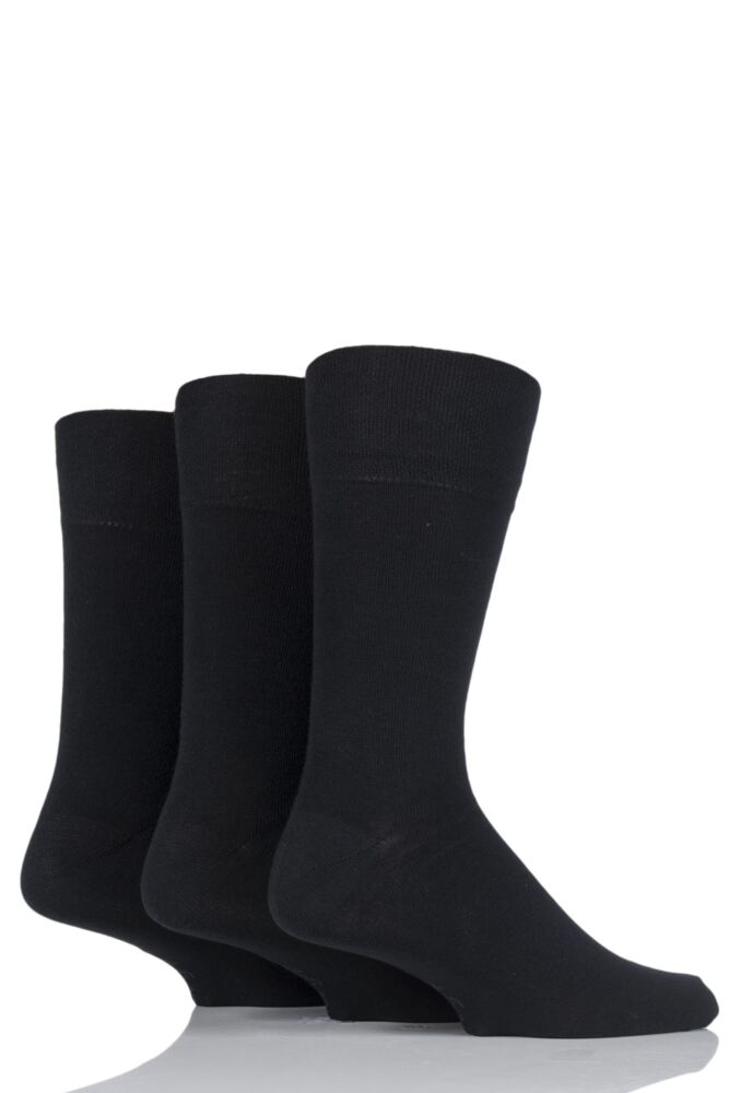 Mens 3 Pair Gentle Grip Plain Socks