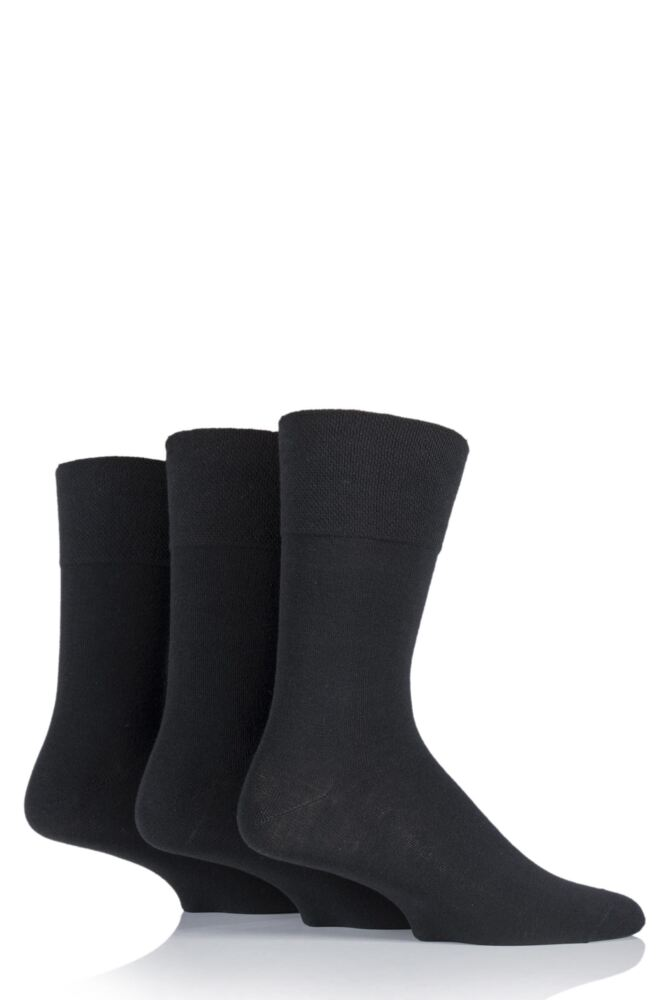 Mens 3 Pair Gentle Grip Diabetic Cotton Socks