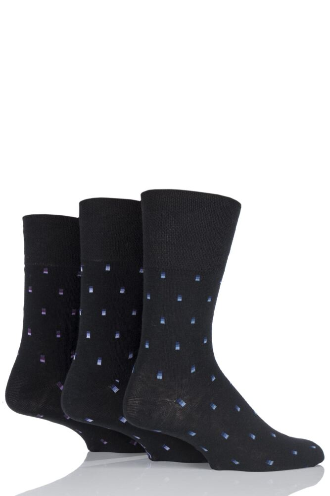 Mens 3 Pair Gentle Grip Micro Square Socks In Black