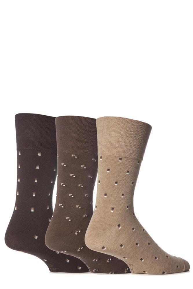 Mens 3 Pair Gentle Grip Micro Squared Cotton Suit Socks