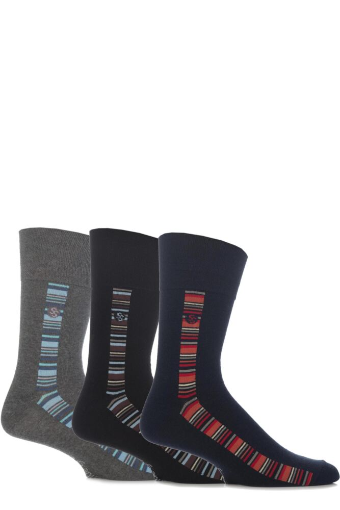 Mens 3 Pair Gentle Grip Hudson Panel Striped Cotton Socks