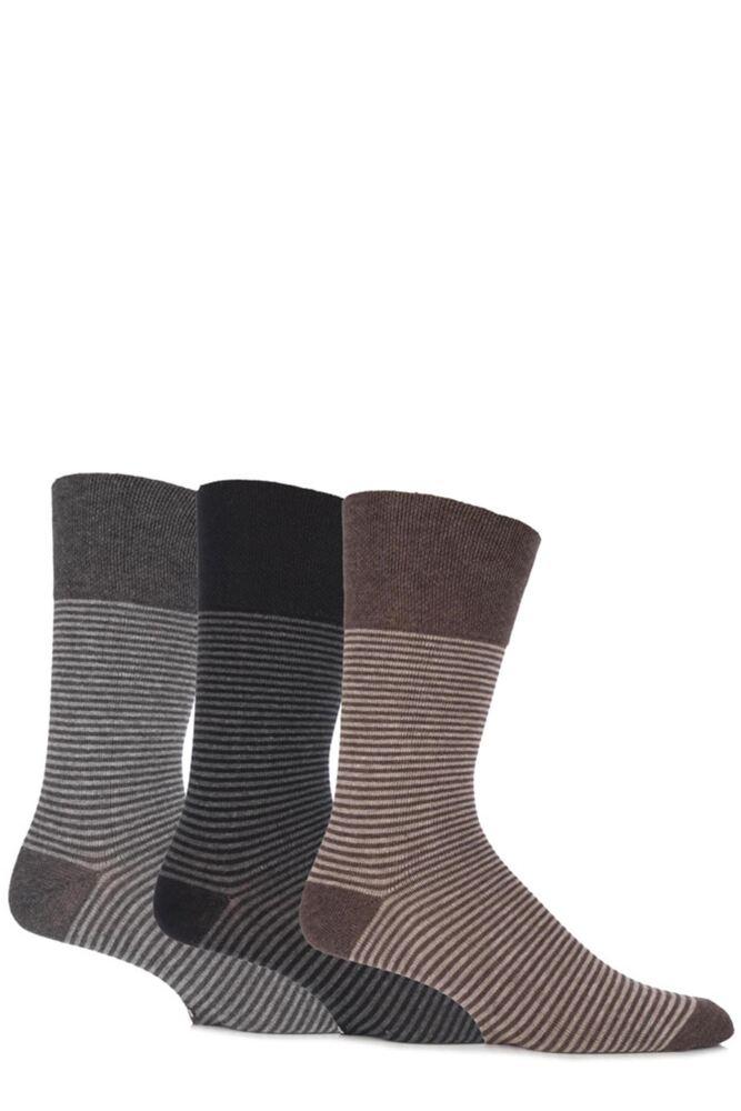 Mens 3 Pair Gentle Grip Two Tone Striped Cotton Socks