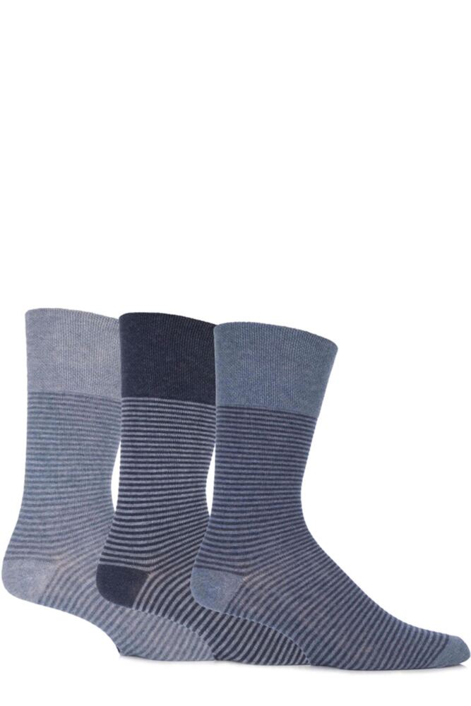 Mens 3 Pair Gentle Grip Two Tone Striped Cotton Socks