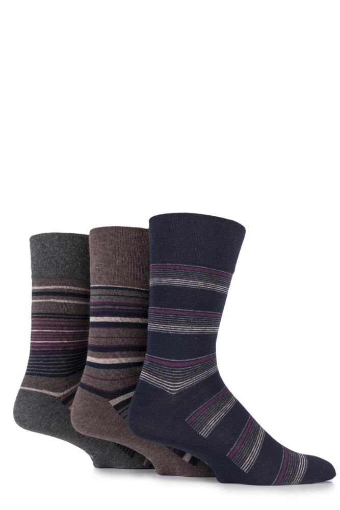 Mens 3 Pair Gentle Grip Riley Compact Striped Cotton Socks