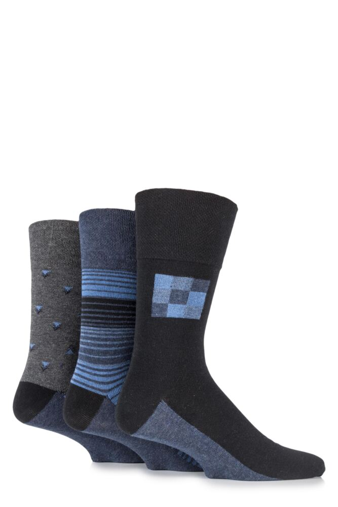 Mens 3 Pair Gentle Grip Carson Multi Patterned Cotton Socks