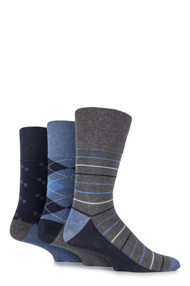 Mens 3 Pair Gentle Grip Archie Mixed Pattern Cotton Socks