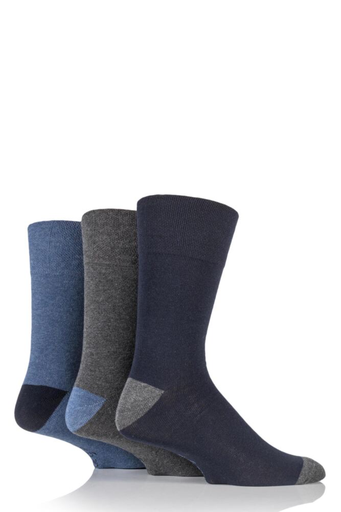 Mens 3 Pair Gentle Grip James Cotton Socks with Contrast Heel and Toe