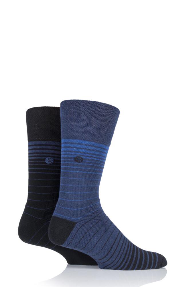 Mens 2 Pair Gentle Grip Staggered Stripe Cushioned Socks