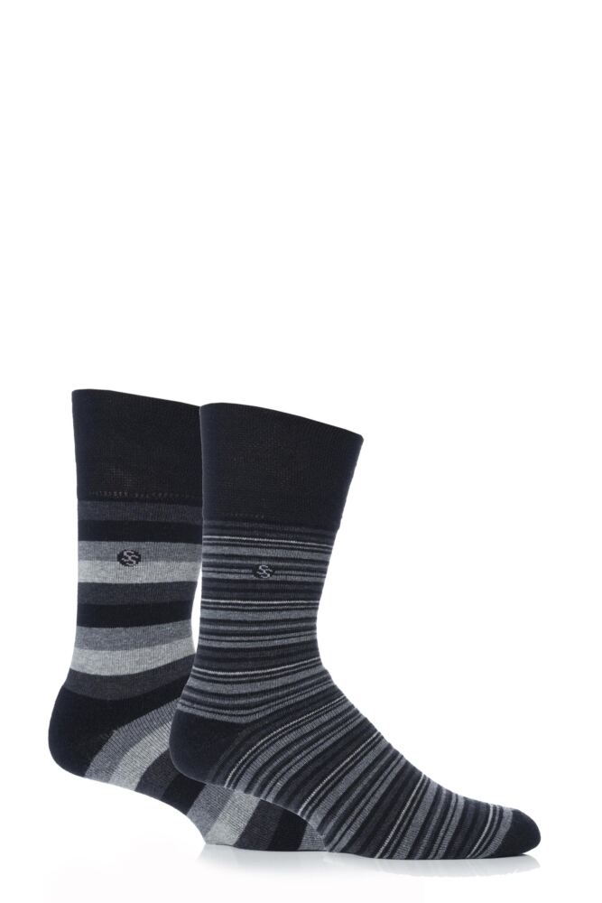 Mens 2 Pair Gentle Grip Monochrome Stripe Cushioned Socks