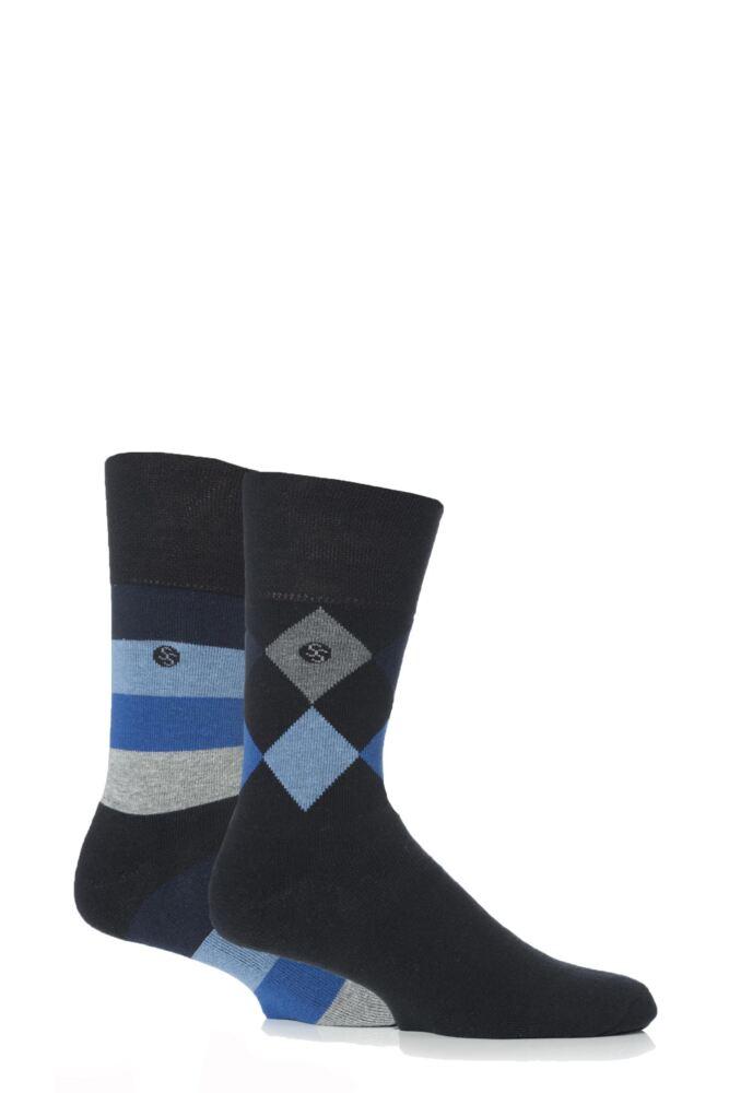 Mens 2 Pair Gentle Grip Diamond Stripe Cushioned Socks