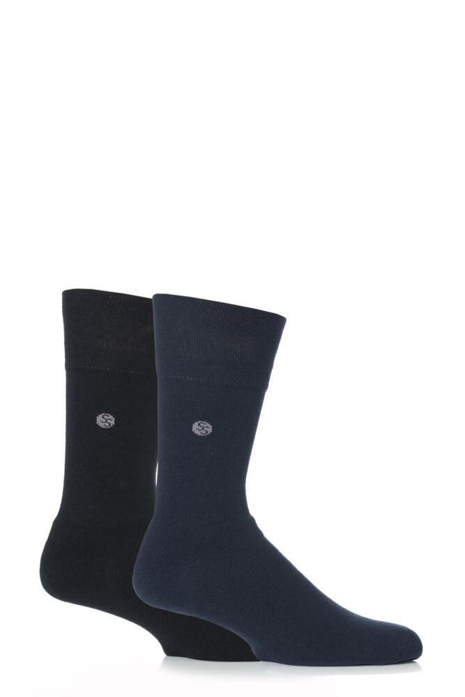 Mens 2 Pair Gentle Grip Plain Cushioned Socks In Black and Navy