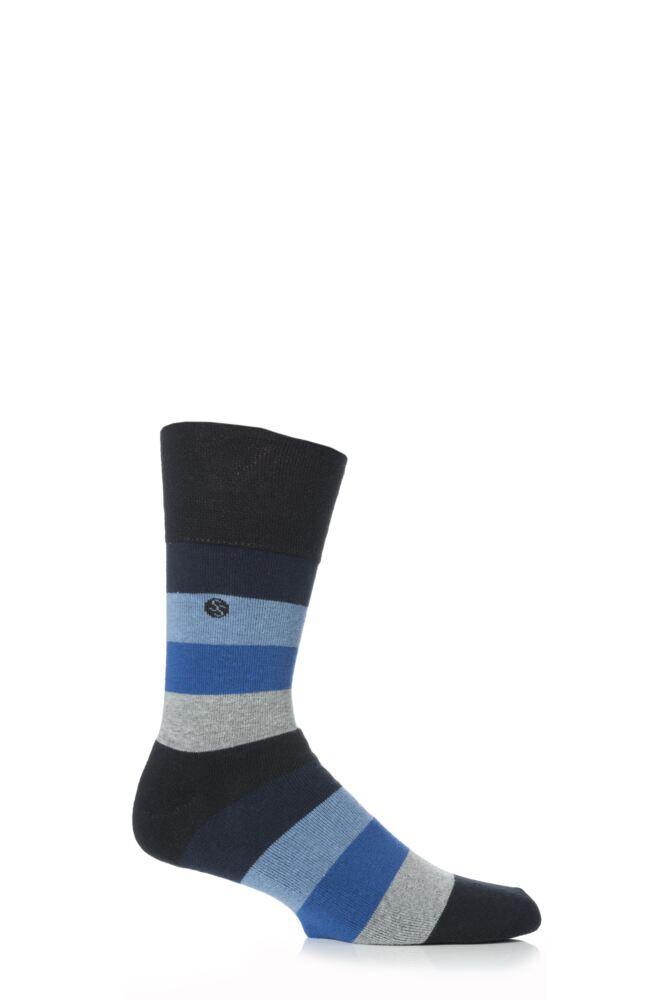 Mens 1 Pair Gentle Grip Cushioned Foot Blue Bold Stripe Socks