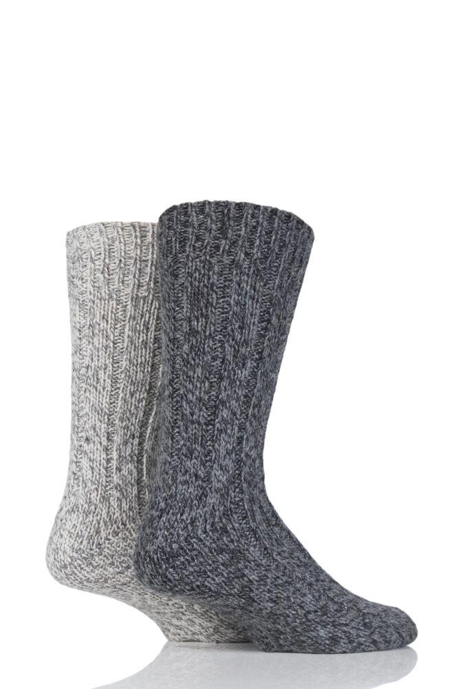 Mens 2 Pair SockShop Ribbed Wool Boot Socks with Smooth Toe Seams