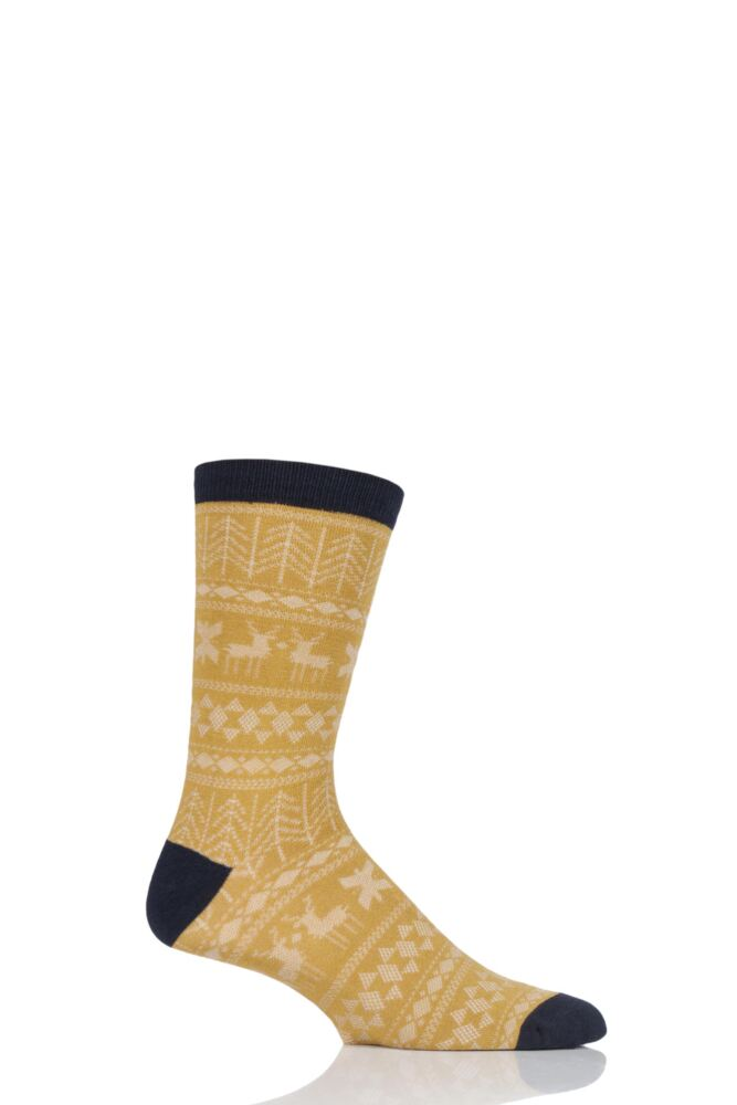 Mens 1 Pair Thought Noel Fair Isle Bamboo and Organic Cotton Socks