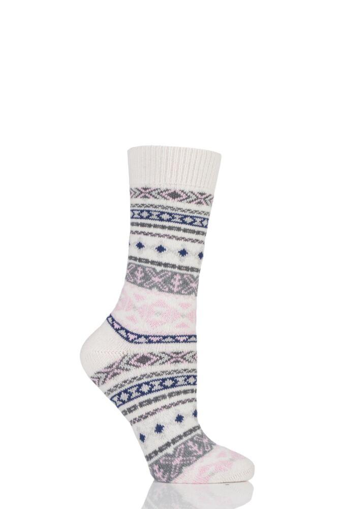 Ladies 1 Pair Thought Nera Fairisle Organic Cotton and Wool Socks