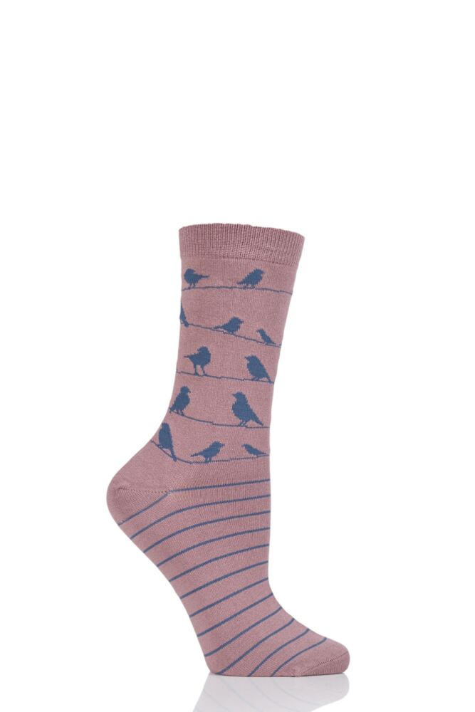Ladies 1 Pair Thought Birdie Birds on a Line Bamboo and Organic Cotton Socks