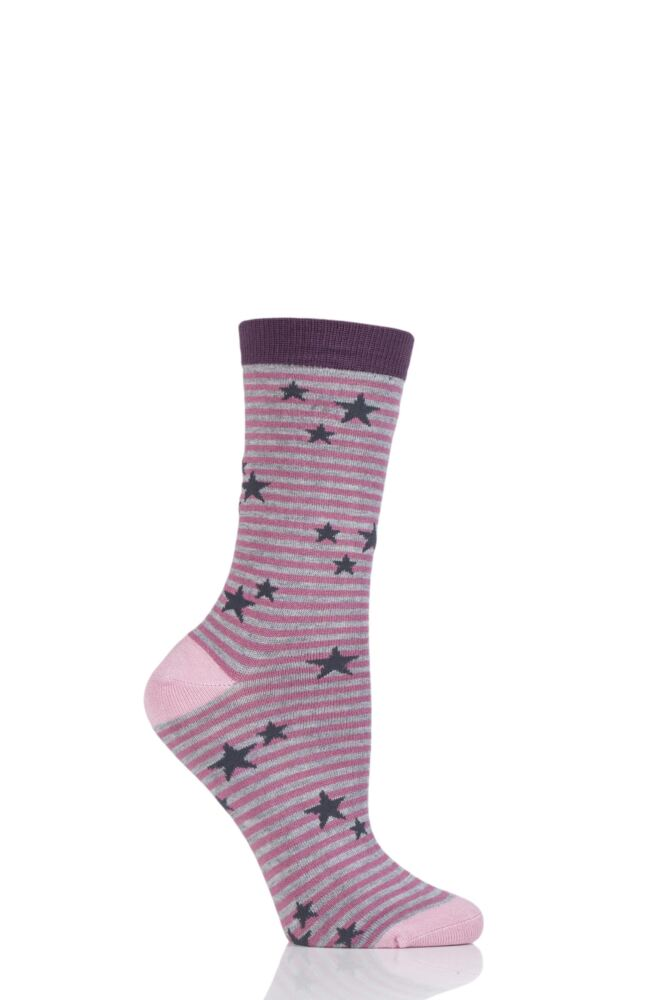 Ladies 1 Pair Thought Karla Stars and Stripes Bamboo Socks