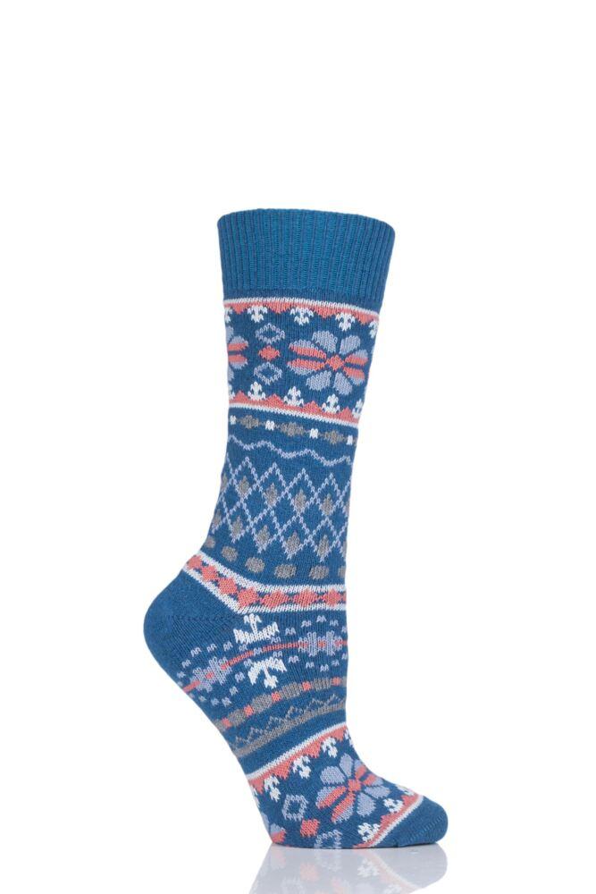 Ladies 1 Pair Thought Inga Fair Isle Organic Cotton and Wool Socks