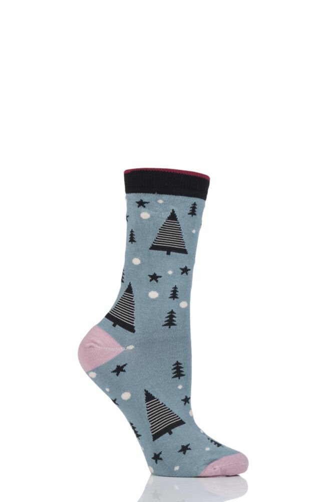 Ladies 1 Pair Thought Merry Christmas Tree Bamboo and Organic Cotton Socks