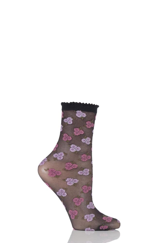 Ladies 1 Pair Trasparenze Stinger Floral Sheer Socks with Lace Trim