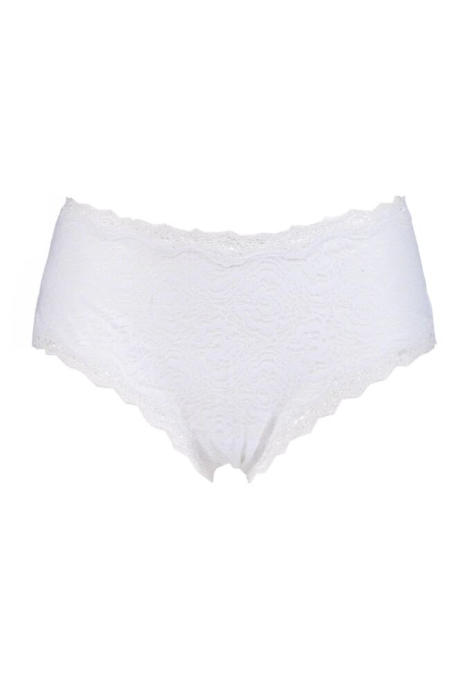 Ladies 1 Pair Kinky Knickers 'White & White' Scallop Edge Lace 'Classic' Knicker