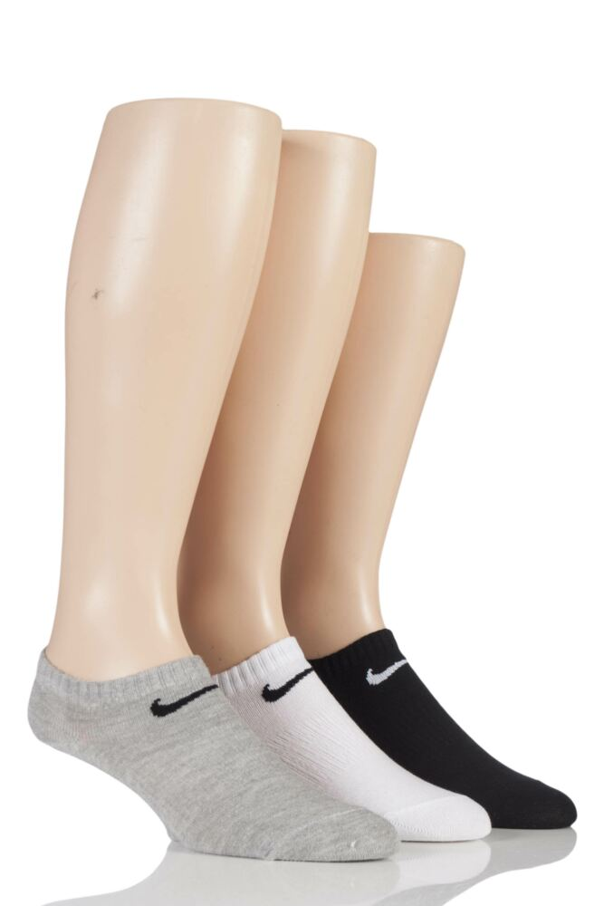 Mens and Ladies 3 Pair Nike Cotton Non-Cushioned No-Show Trainer Socks