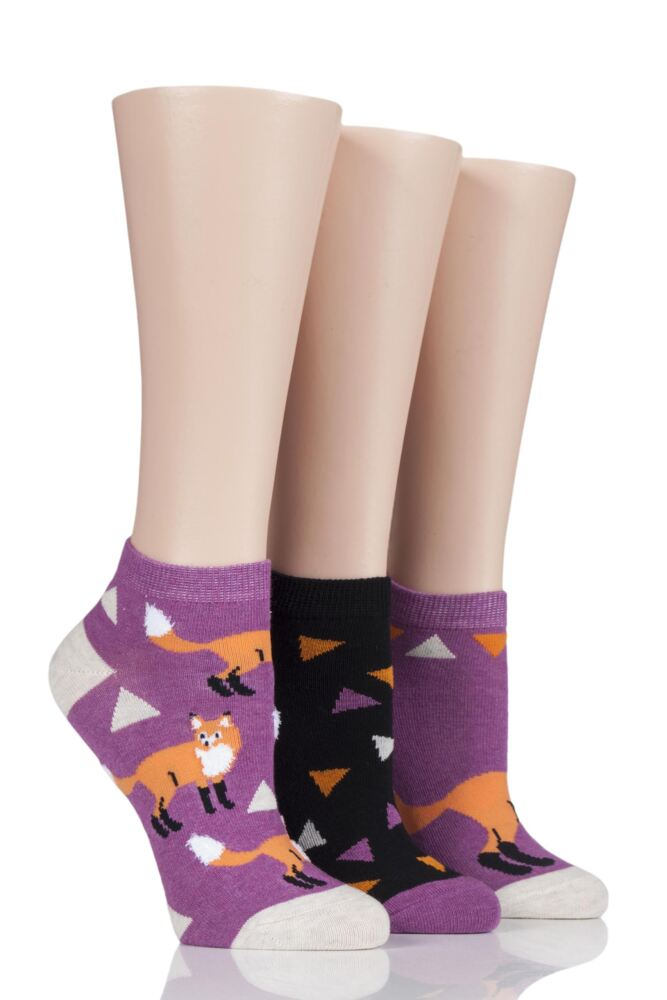 Ladies 3 Pair SockShop Wild Feet Patterned Trainer Socks