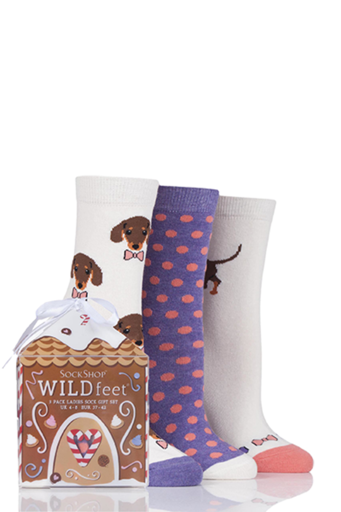 SockShop Wild Feet Dachshund Dog Cotton Socks In Gift Box