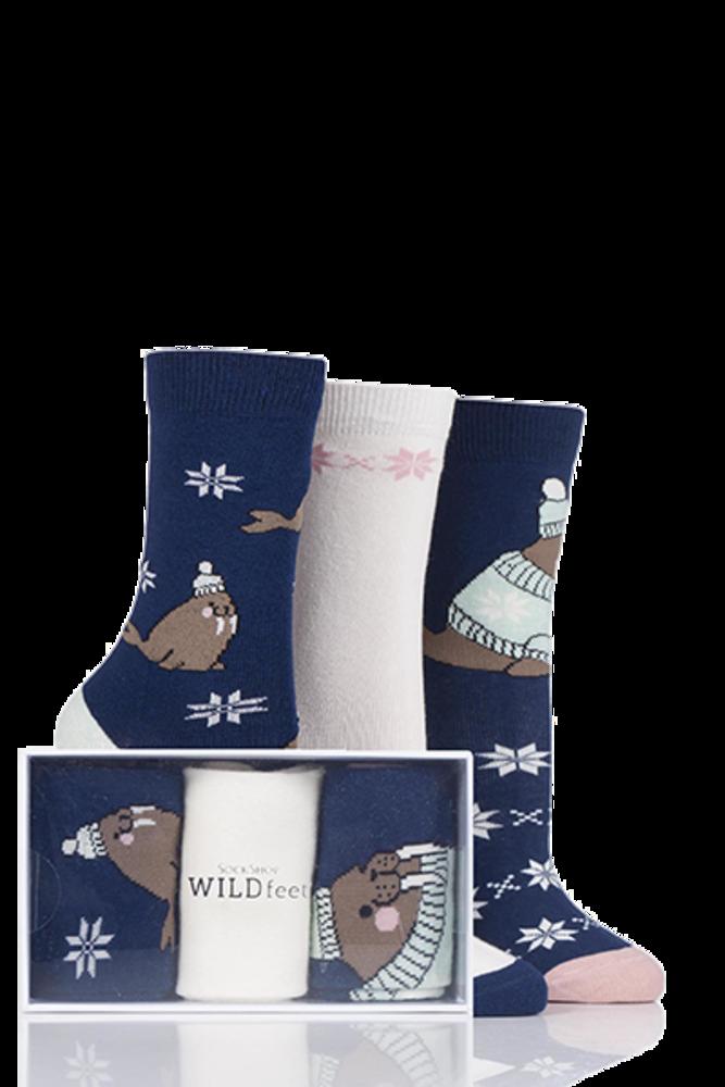 SockShop Wild Feet Walrus Cotton Socks In Gift Box