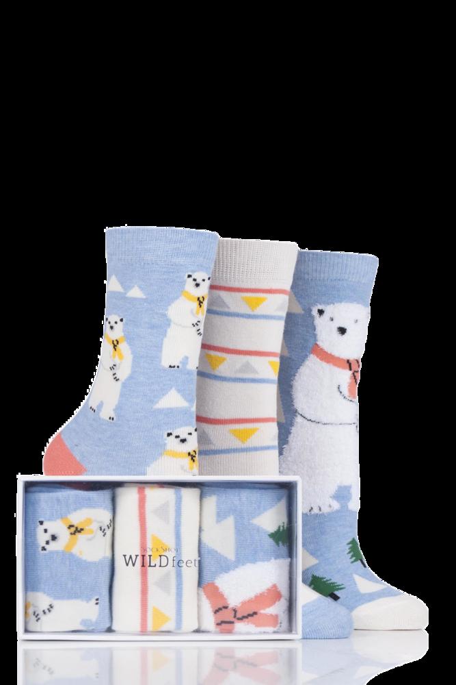 SockShop Wild Feet Polar Bear Cotton Socks In Gift Box