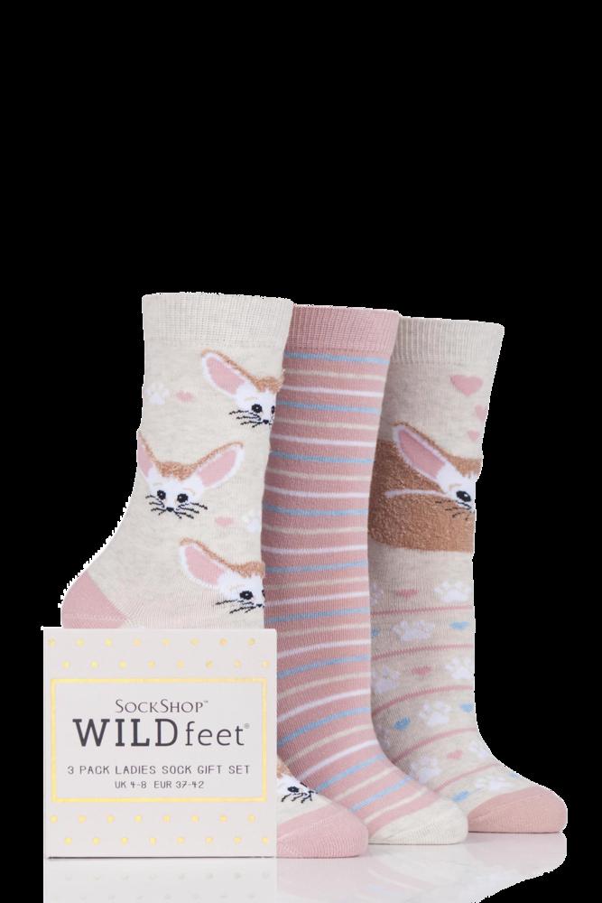 SockShop Wild Feet Fennec Fox Cotton Socks In Gift Box