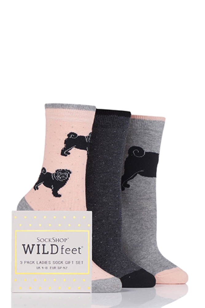 SockShop Wild Feet Black Pug Dog Cotton Socks In Gift Box