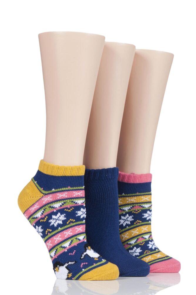 Ladies 3 Pair SockShop Wild Feet Chunky Knit Trainer Socks