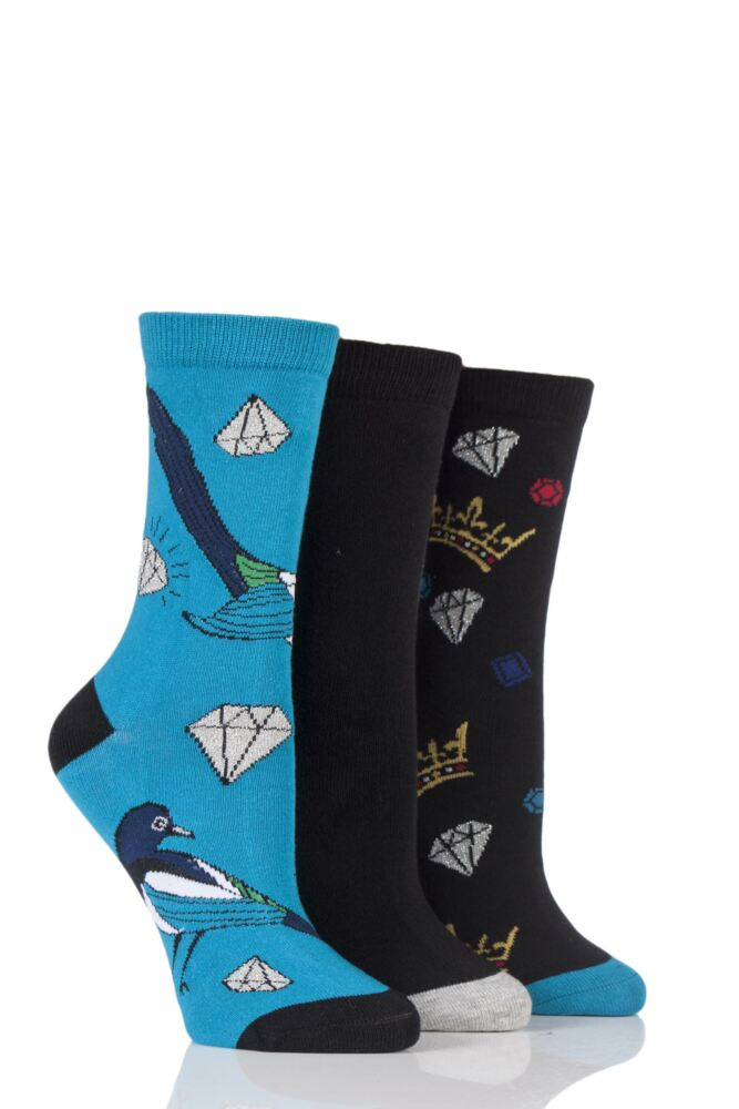 Ladies 3 Pair SockShop Wild Feet Animal Inspired Patterned Socks