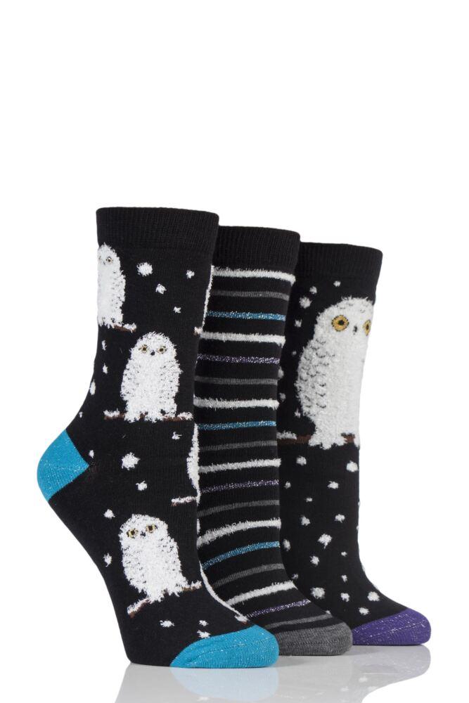 Ladies 3 Pair Sockshop Wild Feet Winter Inspired Patterned Socks