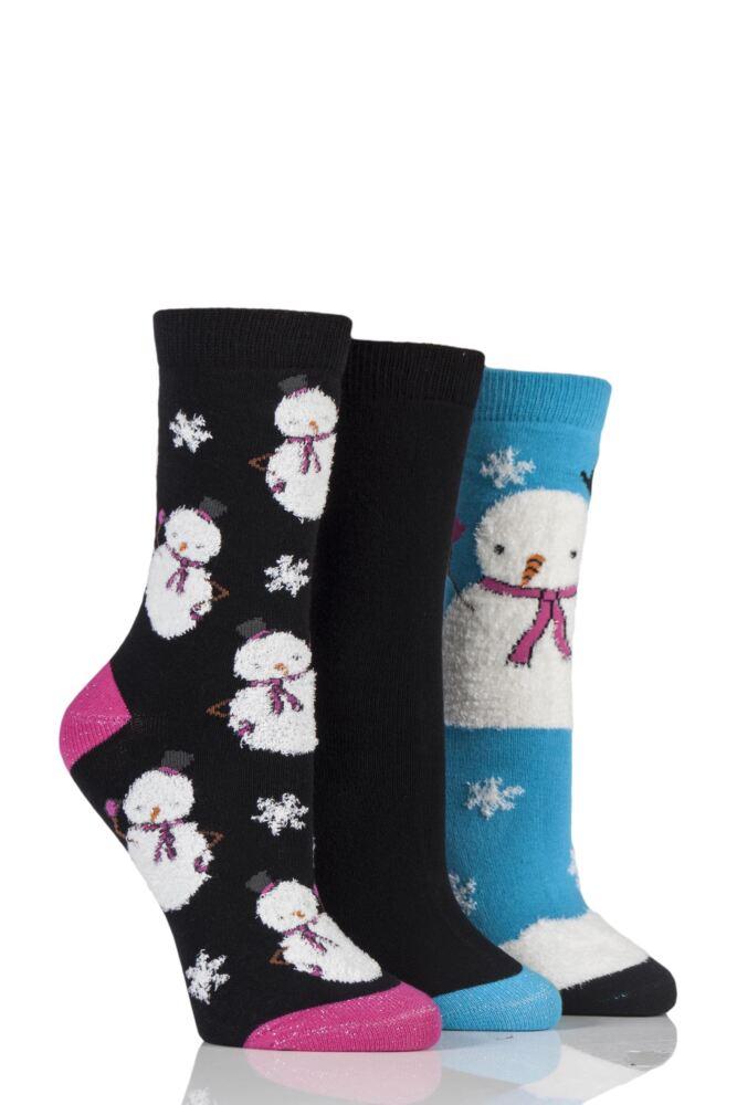 Ladies 3 Pair SockShop Wild Feet Christmas Inspired Patterned Socks