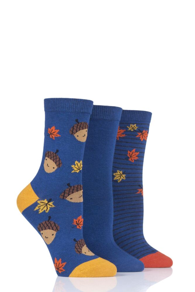 Ladies 3 Pair SockShop Wild Feet Acorns and Leaves Novelty Cotton Socks
