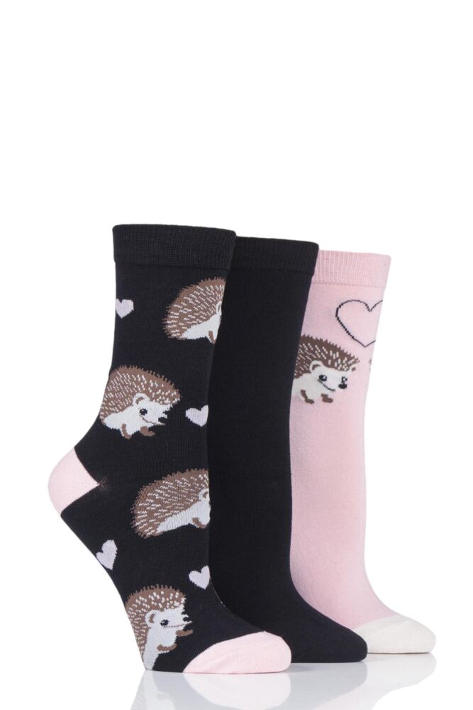 Ladies 3 Pair SockShop Wild Feet Hedgehog Novelty Cotton Socks