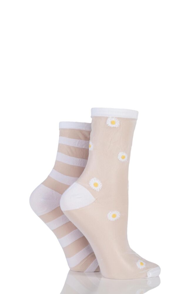 Ladies 2 Pair SockShop Shimmer Daisy and Striped Sheer Pop Socks