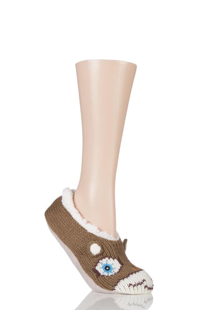 Ladies 1 Pair SockShop Wild Feet Fleece Lined Knitted Slippers