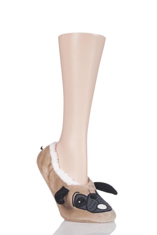 Ladies 1 Pair SockShop Wild Feet Velvety Fleece Lined Slippers