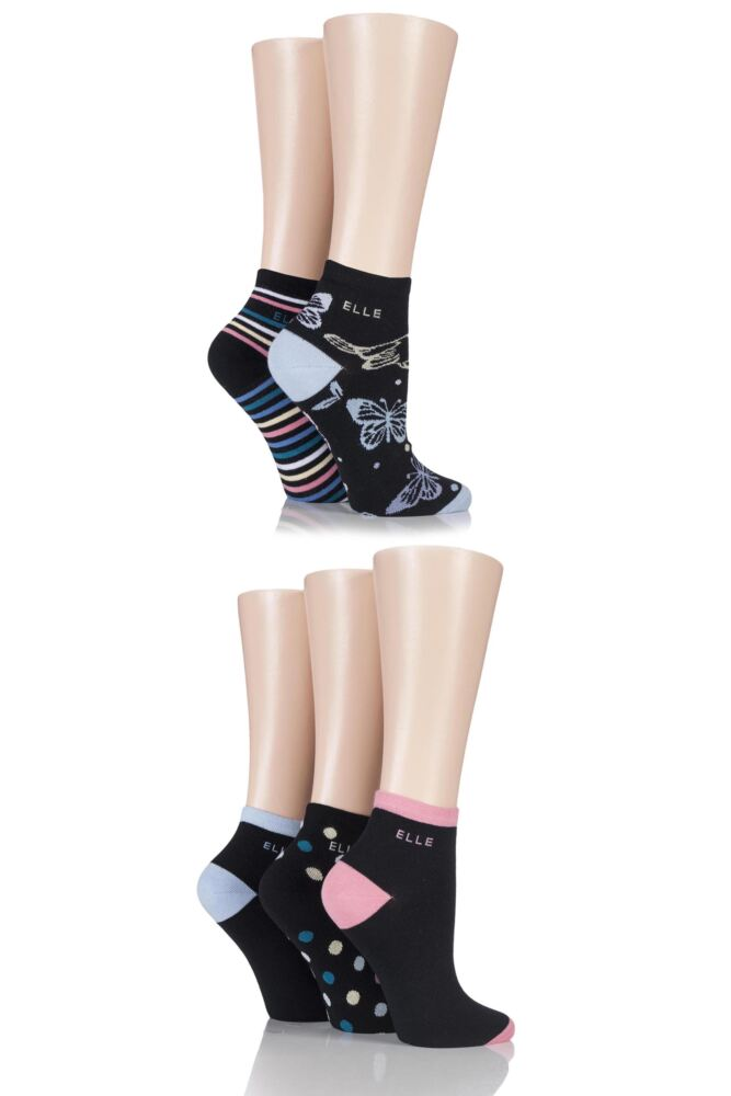 Ladies 5 Pair Elle Natural Cotton Butterfly Ankle Socks with Handlinked Toe Seam