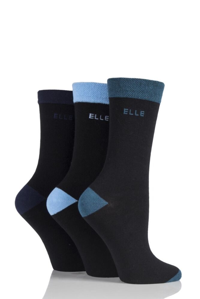 Ladies 3 Pair Elle Combed Cotton Plain Socks with Contrast Heel and Toe