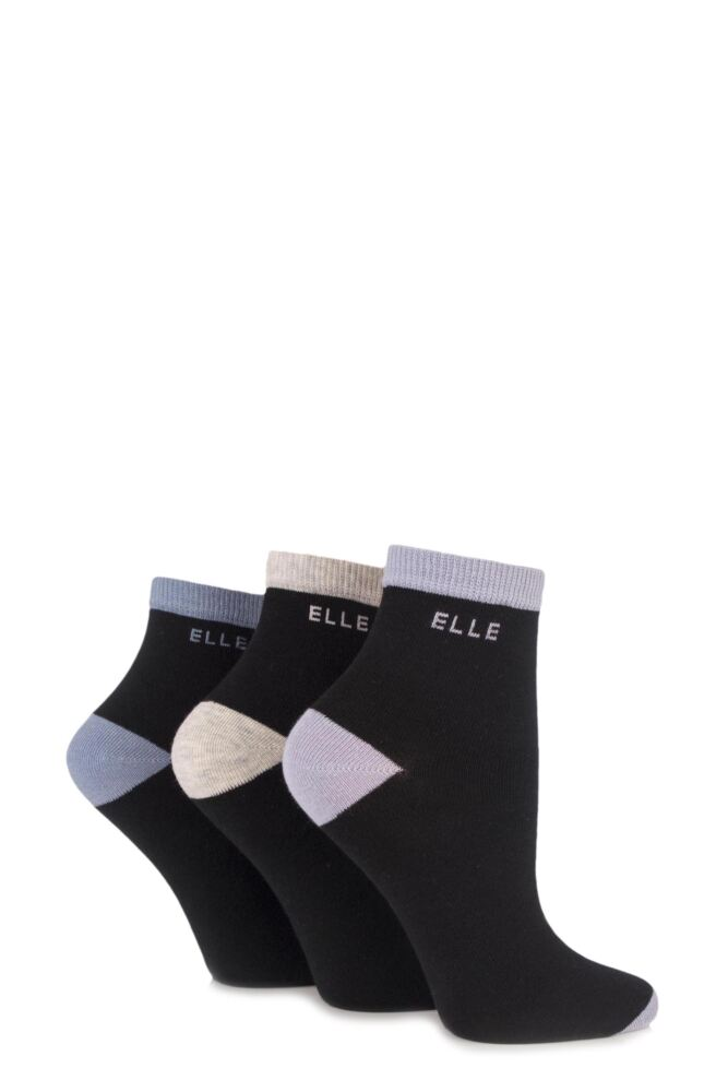 Ladies 3 Pair Elle Plain Anklets with Contrast Heel and Toe