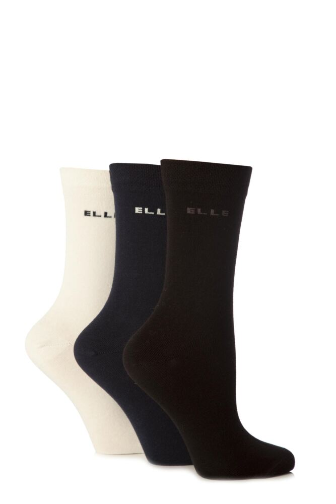 Ladies 3 Pair Elle Plain Comfort Cuff Cotton Socks with Hand Linked Toes