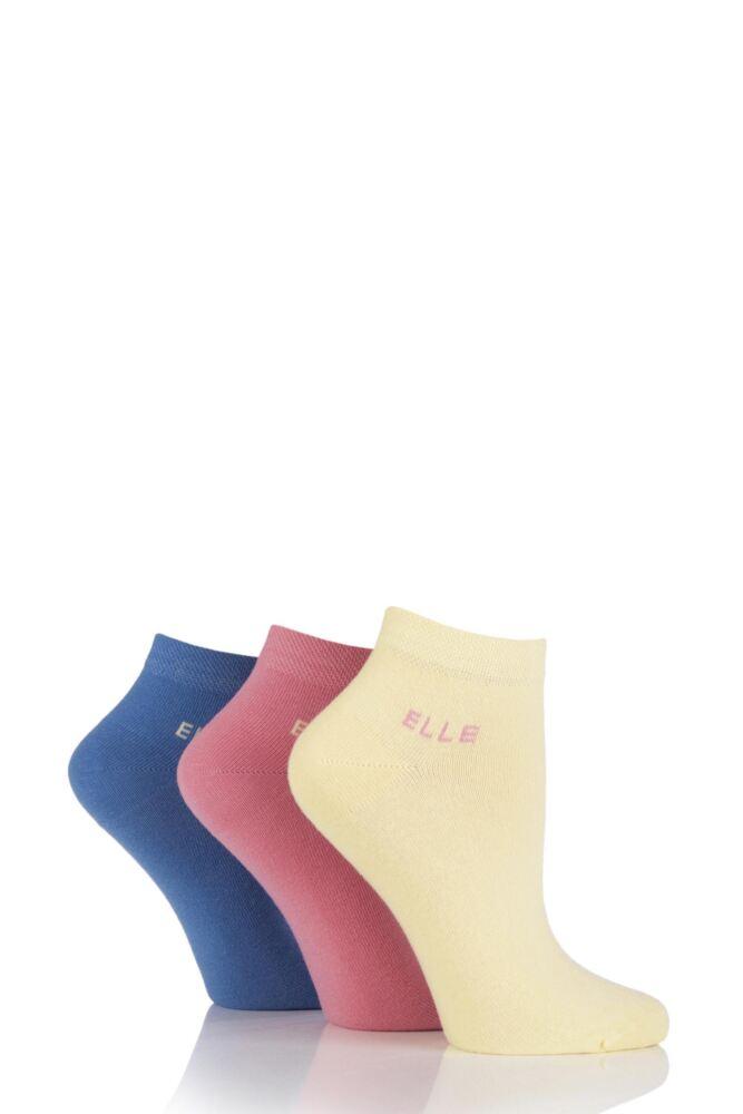 Ladies 3 Pair Elle Plain Cotton Anklets with Comfort Cuff