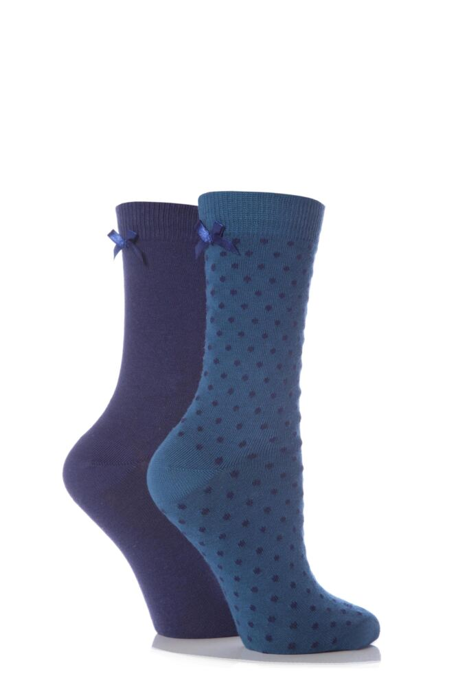 Ladies 2 Pair Elle Plain and Dotty Cotton Socks With Bow