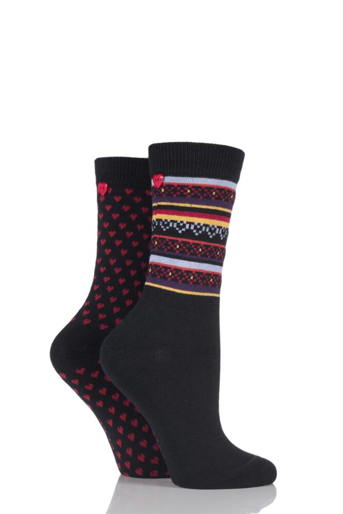 Ladies 2 Pair Elle Striped and Dotty Cotton Socks with Button