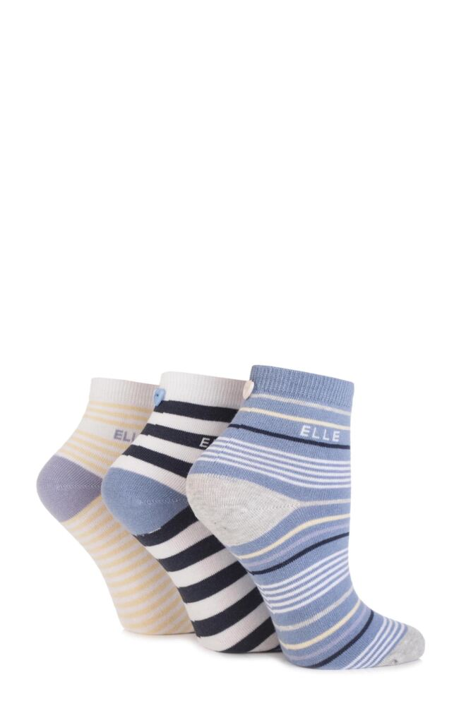Ladies 3 Pair Elle Striped Cotton Anklet Socks with Buttons